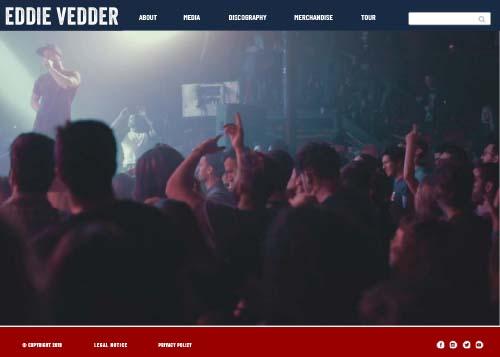 Eddie Vedder website design home page