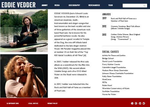 Eddie Vedder website design about page