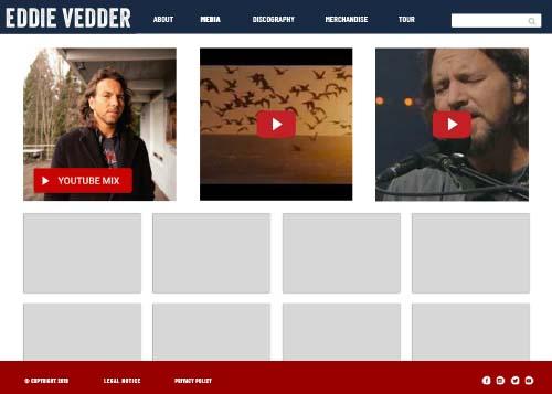 Eddie Vedder website design media page