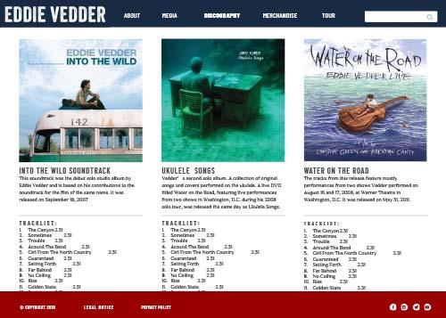 Eddie Vedder website design dicsography page