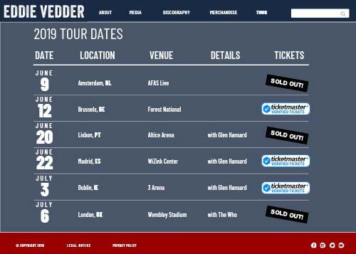 Eddie Vedder website design tour page