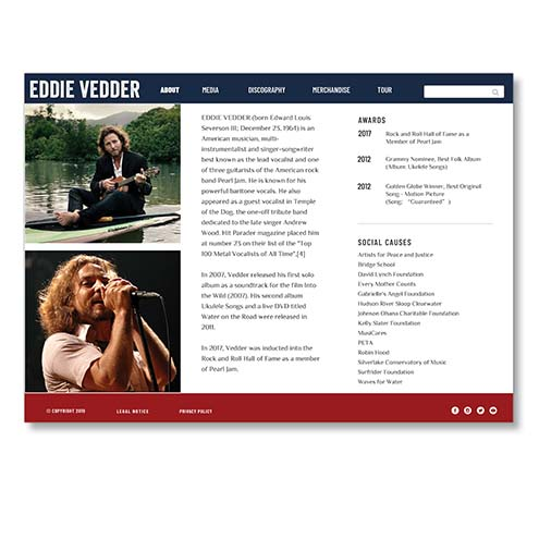 Eddie Vedder website design