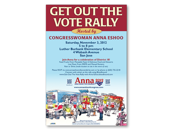 "Anna Eshoo for Congress ""Get Out the Vote Rally"" campaign poster, 2012"