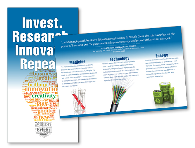 "Anna Eshoo for Congress ""Invest. Research. Innovate. Repeat."" campaign mailer"
