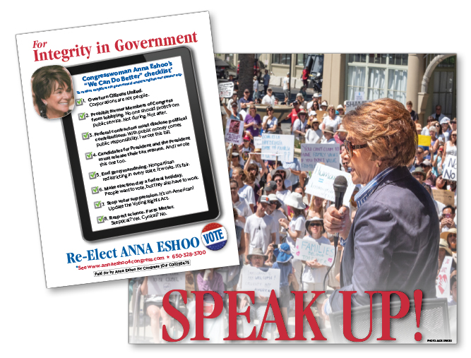 "Anna Eshoo for Congress ""Speak Up!"" campaign mailer"