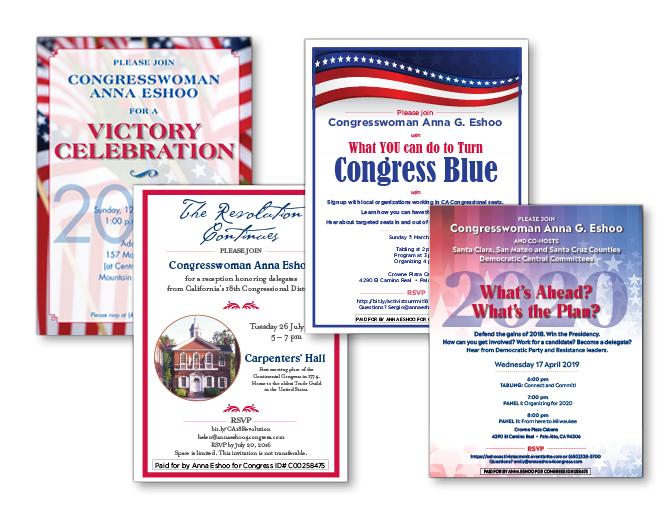 Anna Eshoo for Congress event invitations
