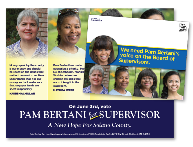 Pam Bertani campaign postcard mailer