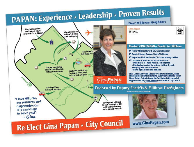 Re-elect Gina Papan campaign mailer