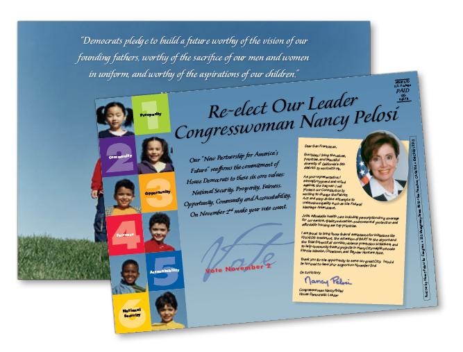 Re-Elect Congresswoman Nancy Pelosi campaign postcard mailer, 2004